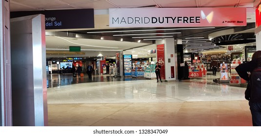Madrid, Spain, March, 1,2019: Images of Terminal T2 at Madrid Barajas Airport, Adolfo Suarez