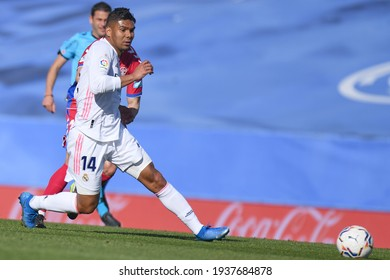 MADRID, SPAIN - MARCH 13:  Casemiro, Real Madrid player in a match versus Elche CF in Alfredo Di Stefano Stadium on march 13, 2021 in Madrid, Spain - Image - Imagen