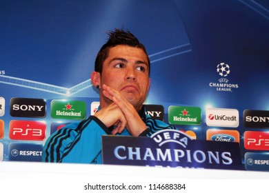 MADRID, SPAIN - MARCH 13: Cristiano Ronaldo press conference, pregame Champions League, CSKA Moscow on March 13, 2012 in Valdebebas.