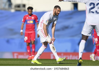 MADRID, SPAIN - MARCH 13:  Karim Benzema, Real Madrid player in a match versus Elche CF in Alfredo Di Stefano Stadium on march 13, 2021 in Madrid, Spain - Image - Imagen