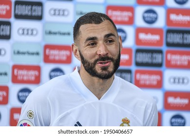 MADRID, SPAIN - MARCH 13:  Karim Benzema, Real Madrid player in a fash after match in Alfredo Di Stefano Stadium on march 13, 2021 in Madrid, Spain - Image - Imagen