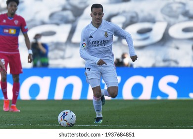 MADRID, SPAIN - MARCH 13:  Lucas Vázquez, Real Madrid player in a match versus Elche CF in Alfredo Di Stefano Stadium on march 13, 2021 in Madrid, Spain - Image - Imagen