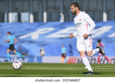 MADRID, SPAIN - MARCH 13:  Nacho, Real Madrid player in a match versus Elche CF in Alfredo Di Stefano Stadium on march 13, 2021 in Madrid, Spain - Image - Imagen