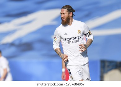 MADRID, SPAIN - MARCH 13:  Sergio Ramos, Real Madrid player in a match versus Elche CF in Alfredo Di Stefano Stadium on march 13, 2021 in Madrid, Spain - Image - Imagen