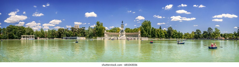 Madrid, Spain. March 15, 2017: Panoramic view of Monument to Alfonso XII, Buen Retiro park, and lake, Madrid, Spain