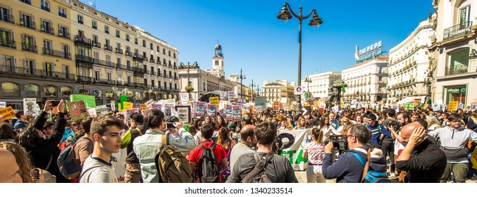 Madrid, Spain - March 15 2019 - 15M climate change student strike at the Spain's capital city Madrid in Puerta del Sol square