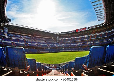 Madrid, Spain - March 17, 2017 - Santiago Bernabeu Stadium (Estadio Santiago Bernabeu), the home stadium of Real Madrid since its completion in 1947, with a current seating capacity of 81,044