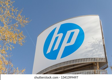 MADRID, SPAIN - MARCH 17, 2019. hp logo on hp building. hp is an American multinational information technology company
