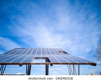 Madrid / Spain - March 17, 2019: A large solar panel structure in the Valdelasfuentes park in the city of Alcobendas in Madrid, Spain, Europe.
