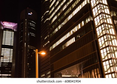 MADRID, SPAIN - MARCH 18: Financial Area at night, Cuatro Torres Business Area, on March 18, 2017 in Madrid, Spain
