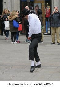 Madrid, Spain - March 2017: Guy dressed and dancing like Michael Jackson in Madrid
