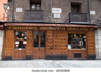 MADRID, SPAIN - MARCH 21, 2014: The worlds oldest restaurant, as recognized by Guinness World Records. It is called Sobrino de Botin and was founded in 1725.