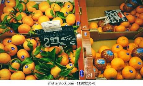 MADRID, SPAIN - MARCH 23, 2018: The range of fresh citrus fruits in the store