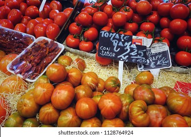 MADRID, SPAIN - MARCH 23, 2018: The range of fresh tomatoes in the store