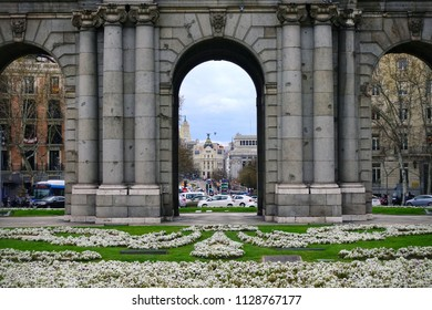 MADRID, SPAIN - MARCH 23, 2018: The Puerta de Alcala (Alcala Gate) on the Plaza de la Independencia (Independence Square) in Madrid, Spain