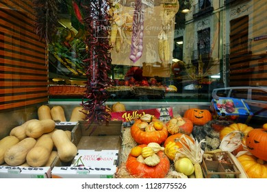 MADRID, SPAIN - MARCH 23, 2018: Shop showcase decorated in the Halloween style