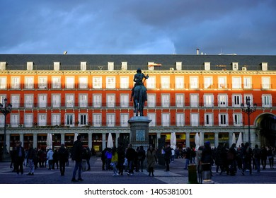 MADRID, SPAIN - MARCH 24, 2018: Unknown people on Plaza Mayor. Plaza Mayor one of central squares of the Spanish capital.