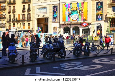 MADRID, SPAIN - MARCH 25, 2018: Unknown people are walking near the popular Teatro de La Latina