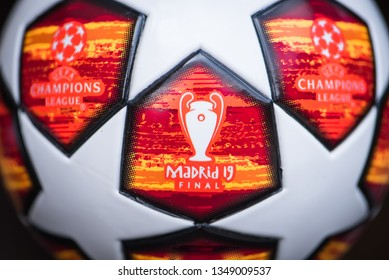 MADRID, SPAIN, MARCH. 25. 2019: UEFA champions league offical soccer ball for season 2018/2019. Logo of UCL, Final in Madrid 19. Black background.
