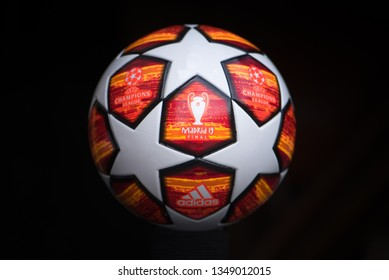 MADRID, SPAIN, MARCH. 25. 2019: UCL Final Madrid 19. Official play-off UEFA Champions league ball for season 2019