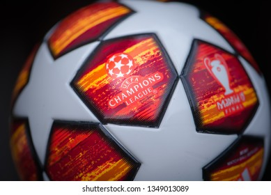 MADRID, SPAIN, MARCH. 25. 2019: UEFA Champions league ball for season 2019. Black background. Final in Madrid 19