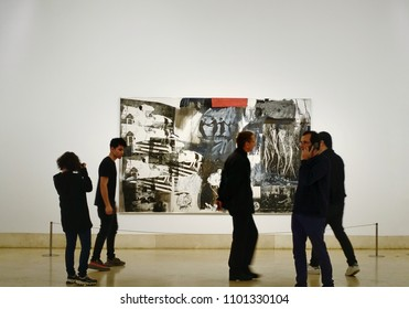 """MADRID, SPAIN - MARCH 26, 2018: Visitors in the museum Thyssen-Bornemisza. It is known as part of the """"Golden Triangle of Art"""", which also includes the Prado and the Reina Sofia national galleries."""