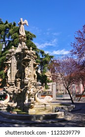 MADRID, SPAIN - MARCH 26, 2018: Beautiful Fountain of Fame is a monumental fountain in Madrid found in the gardens of the Architect Ribera.