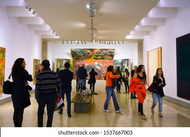 MADRID, SPAIN - MARCH 26, 2018: visitors looks at the pictures in the museum Thyssen-Bornemisza.