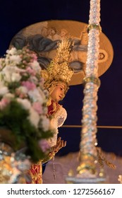 MADRID, SPAIN - MARCH 28, 2018: Holy Week processions in MADRID. Image of the Virgin Mary in the procession of the Christ of the Gypsies