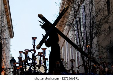MADRID, SPAIN - MARCH 28, 2018: Holy Week processions in MADRID. Image of the Christ of the Gypsies