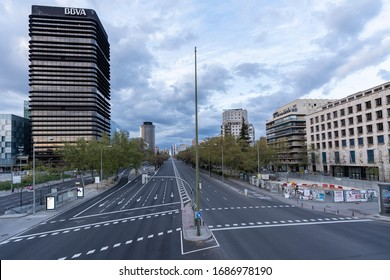 MADRID, SPAIN - MARCH 29th 2020. Paseo de la Castellana, one of Madrid's main avenues, pictured empty the evening before total lockdown. Non-essential workers must stay at home until April 9th
