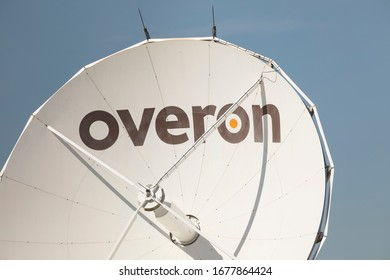 Madrid, Spain - March 3, 2020: Infrastructure of antennas, for radio and tv, of the Overon company, located in the facilities of the digital television channel, TBN Spain, in Ciudad de la Imagen.