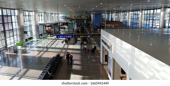 Madrid, Spain, March 6, 2020: Facilities of terminal 2 of the Madrid airport almost empty by the coronavirus crisis