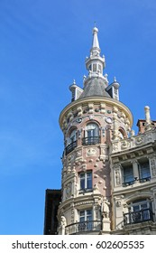 MADRID, SPAIN - MARCH 8, 2017: Ornate tower of a commercial building. Madrid is a popular tourist destination of Europe