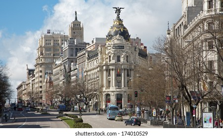 MADRID, SPAIN - MARCH 9, 2013: Look from Plaza de Cibeles to Cale de Alcala street with the Metropolis building.