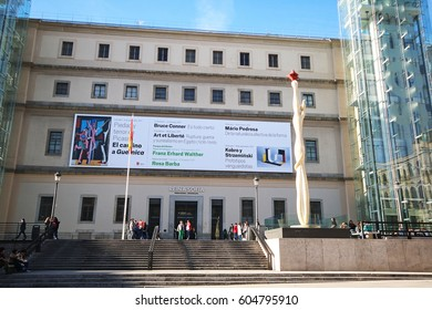 MADRID, SPAIN - MARCH 9, 2017:  Museo Reina Sofia square, Central Madrid. This is Spain's national museum of 20th-century art