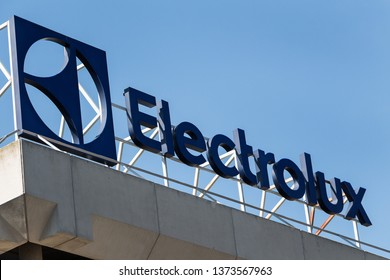 MADRID, SPAIN - MARCH 9, 2019. Electrolux logo on Electrolux building. Electrolux is a Swedish multinational home appliance manufacturer