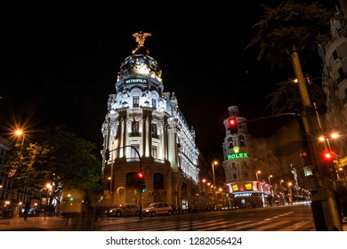 Madrid, Spain - May 01, 2008: Metropolis Building or Edificio Metropolis is an office building at the intersection of the Calle de Alcala and Gran Via streets in Madrid, Spain