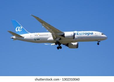 MADRID / SPAIN - MAY 1, 2016: Air Europa Boeing 787-8 Dreamliner EC-MIG passenger plane landing at Madrid Barajas Airport
