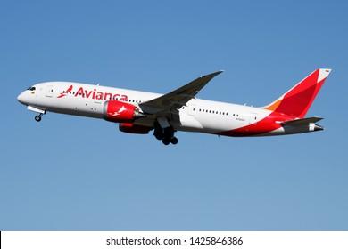 MADRID / SPAIN - MAY 1, 2016: Avianca Boeing 787-8 Dreamliner N780AV passenger plane departure at Madrid Barajas Airport