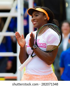 MADRID, SPAIN - MAY 1 : Serena Williams smiles during the the 2015 Mutua Madrid Open WTA Premier Mandatory tennis tournament charity day