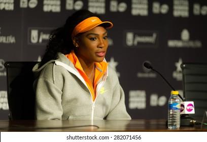 MADRID, SPAIN - MAY 1 : Serena Williams talks to the media at the 2015 Mutua Madrid Open WTA Premier Mandatory tennis tournament