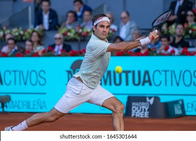 Madrid Spain; May / 10/2019. Roger Federer, Swiss tennis player, participating in the Madrid Tennis Open