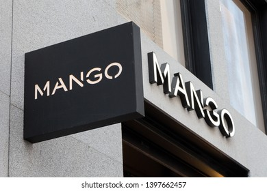 MADRID, SPAIN - MAY 11, 2019. Mango logon on Mango's shop. Mango is a spanish clothing manufacturing company