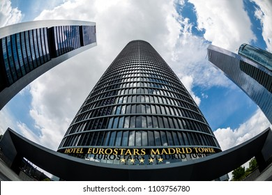 MADRID, SPAIN - MAY 11,2018: Eurostars MAdrid Tower Hotel in Cuatro Torres Business Area on May 11, 2018 in Madrid, Spain.