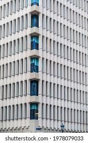 MADRID, SPAIN - MAY 12, 2021: Detail of Beatriz Building (Edificio Beatriz in Spanish) in Madrid, built between 1964 and 1975 by the architect Eleuterio Poblacion Knappe