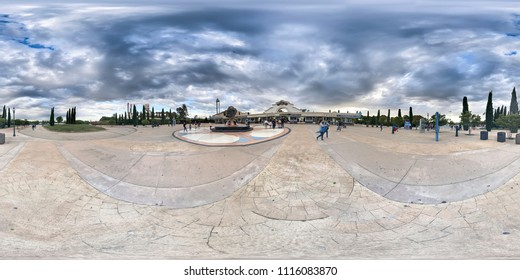 MADRID, SPAIN - MAY 12,2018: 360 equirectangular view of Warner Bros Park on May 12, 2018 in Madrid, Spain.