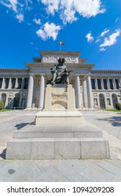 MADRID, SPAIN - MAY 15, 2018:  Entrance of El Prado museum with a Statue of Velazquez