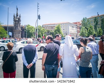 Madrid / Spain - May 15, 2019: People with traditional San Isidro costumes close to the Puente De Toledo bridge