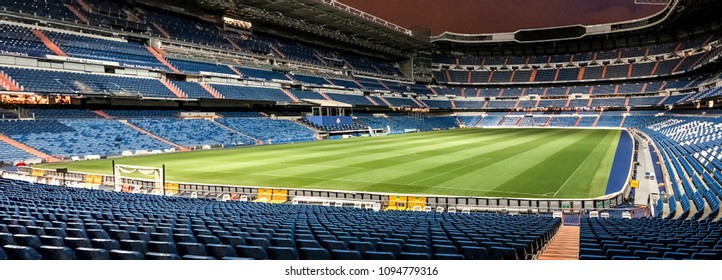 MADRID, SPAIN - MAY 17: complete view of Santiago Bernabeu stadium at night on May 17, 2018 in Madrid, Spain. Real Madrid was born in the year 1902 and Santiago Bernabeu Stadium is its headquarters